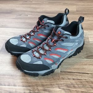 Merrell Moab low top hiking boots, gray, sz 12